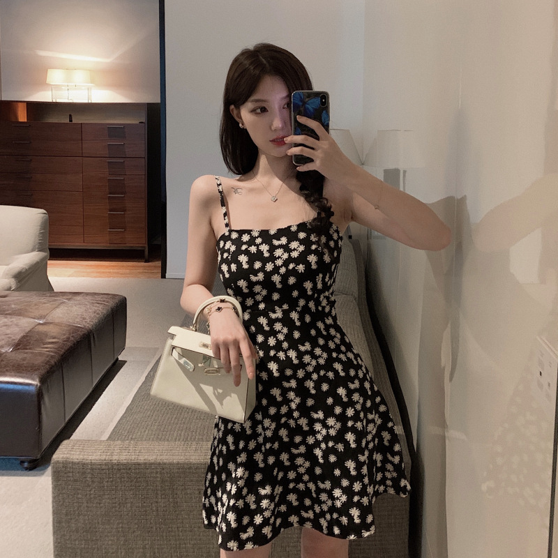 Women Sling Dress Daisy Print High Waist Slim Summer Lady Short A-line Dress black_L