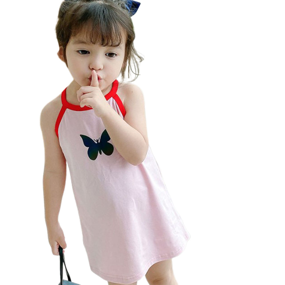 Girls Dress Pure Cotton Reflective Color Changing Butterfly-pattern Skirt for 1-4 Years Old Kids Pink_90cm
