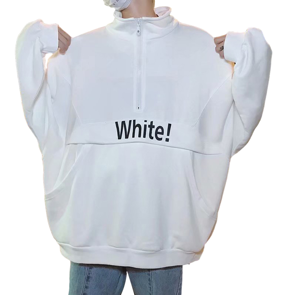 Men's Hoodie Autumn and Winter Loose Pullover Letter Printing Jacket White _L