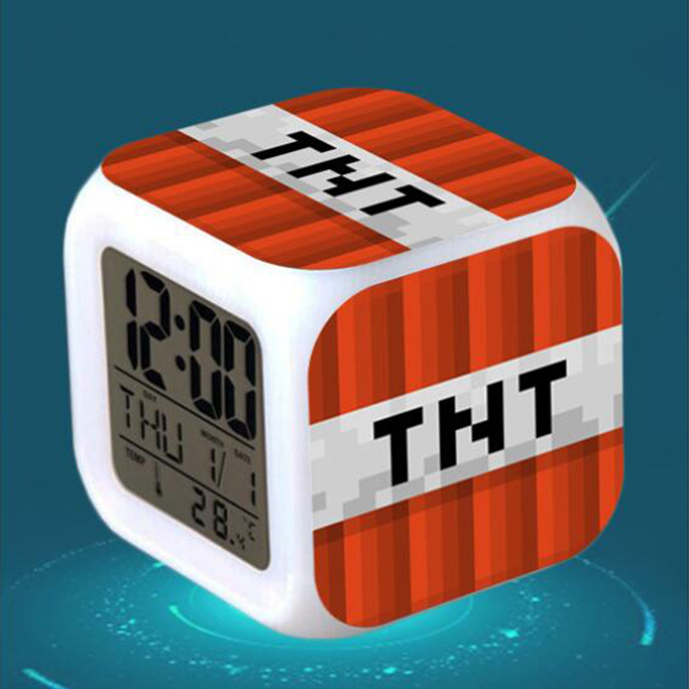 Minecraft Alarm Clock with LED Light Game Action Toy Home Decor 001