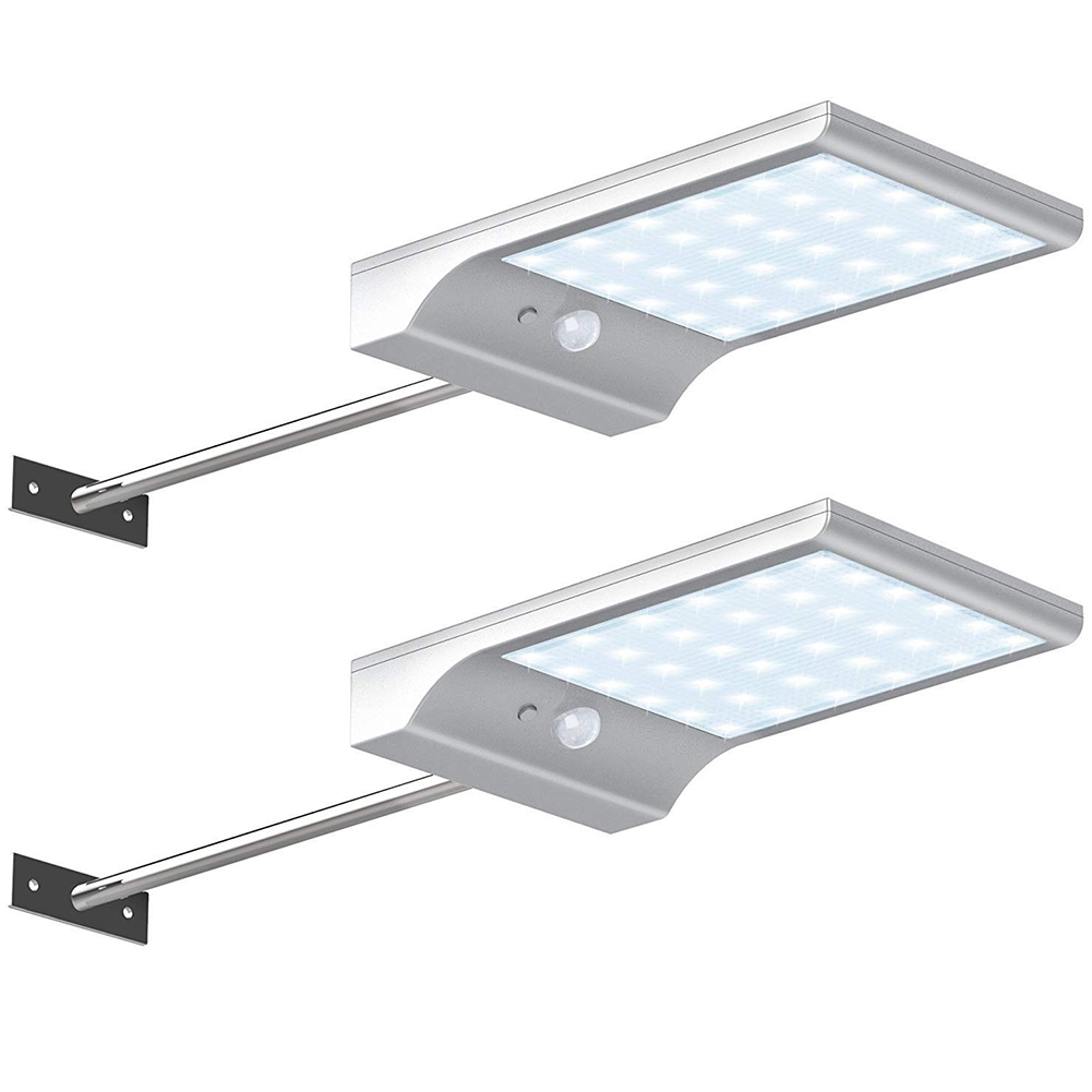 36LED Solar Lights Wall Mounted Outdoor Motion Sensor Detector Light Security Lighting for Barn Porch Garage 36 lights with metal rod white