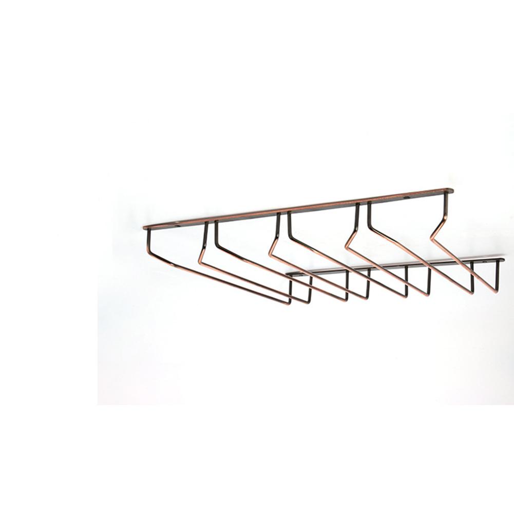 Iron Plating Bronze Wall Mount Stemware Hanging Wine Glass Rack Holder Shelf 4 rows with screws