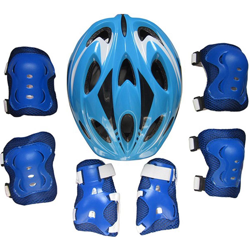 Kids Adjustable Bike Helmet Protect Set with Knee Elbow Wrist Guard for Cycling Biking Skateboard  blue_Children