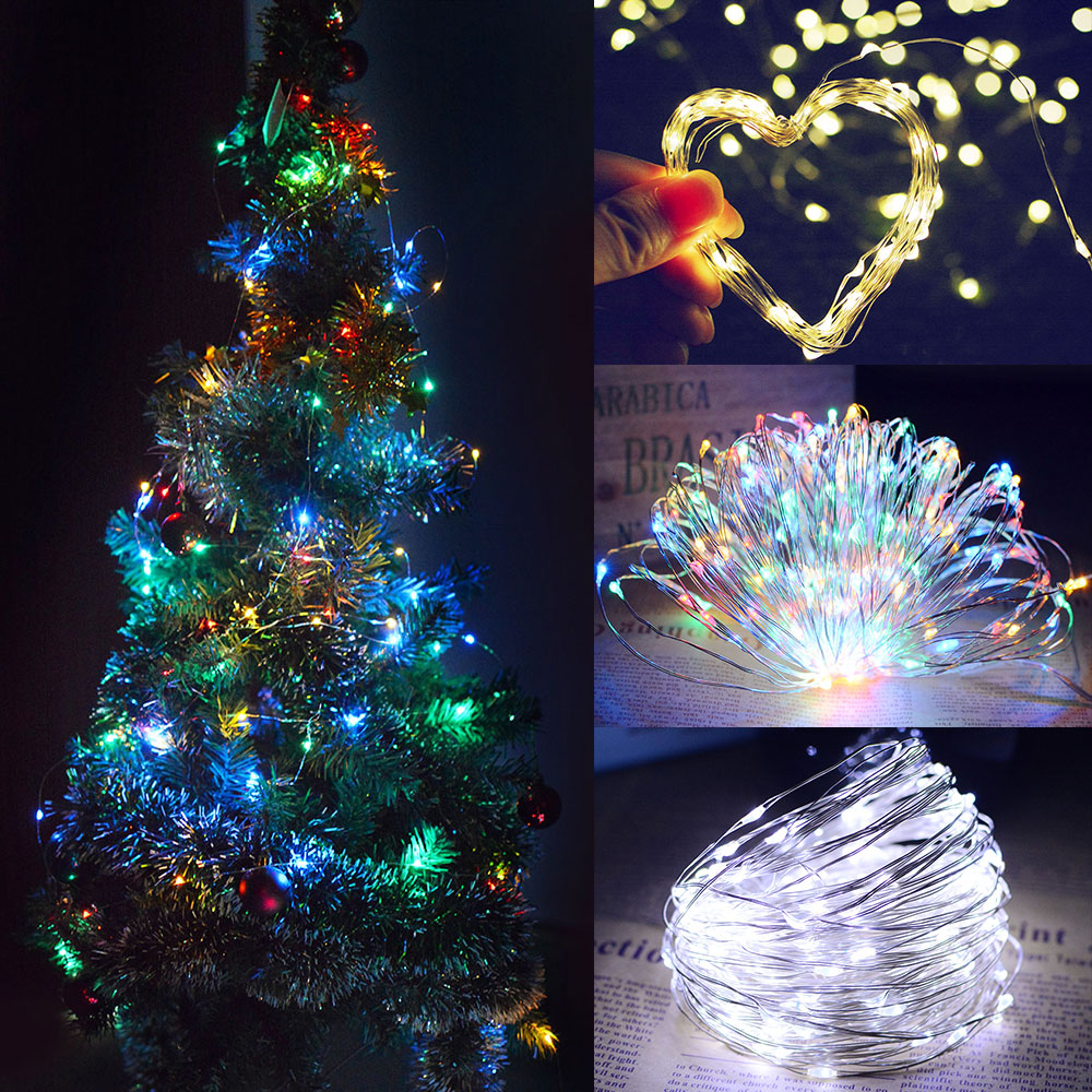 10M/20M 100LEDs/200LEDs Small Size Normally on Solar Powered Copper Wire String Light Color light_10 meters 100 LED_(ME0003303)