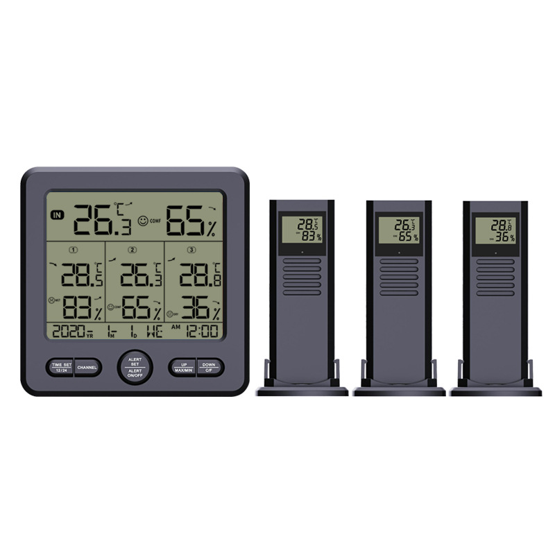 Temperature and Humidity Meter One-drive-three Multifunctional Wireless High Precision Thermometer with Color Alarm TS-6210-B