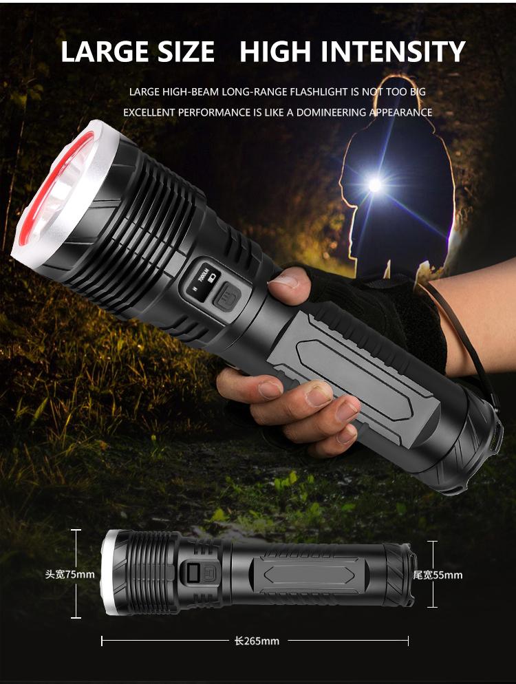 LED Flashlight Smart Screen Display Short Style Torch Camping Night Lamp black_F401 short