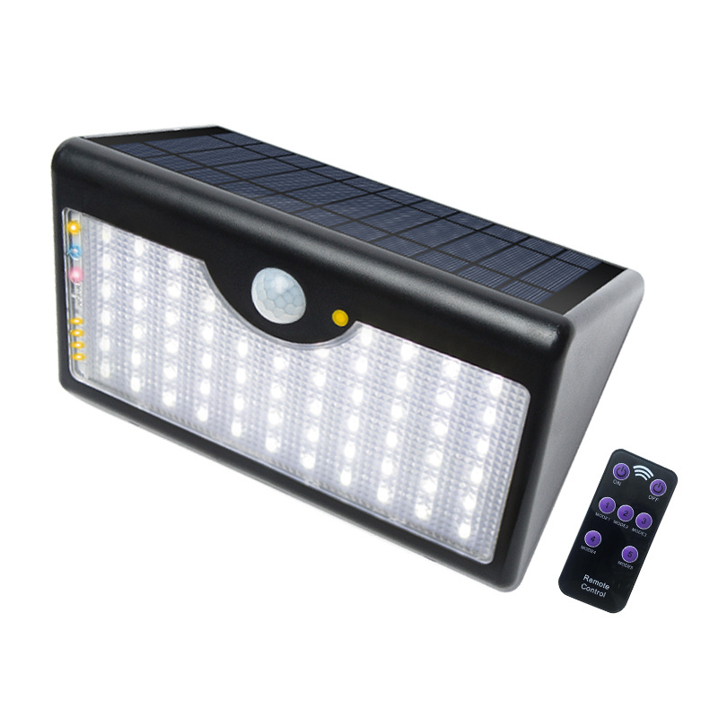 Solar Light 60 LEDs Waterproof Remote Control Wall Lamp for Outdoor Garden Wall Fence Yard Remote 60LED black white light