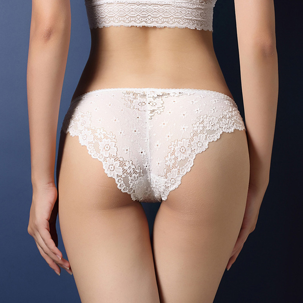 Women Lace Floral Sexy Underwear Ultra-thin Low Rise Erotic Lingerie Briefs Temptation Panties White_One size