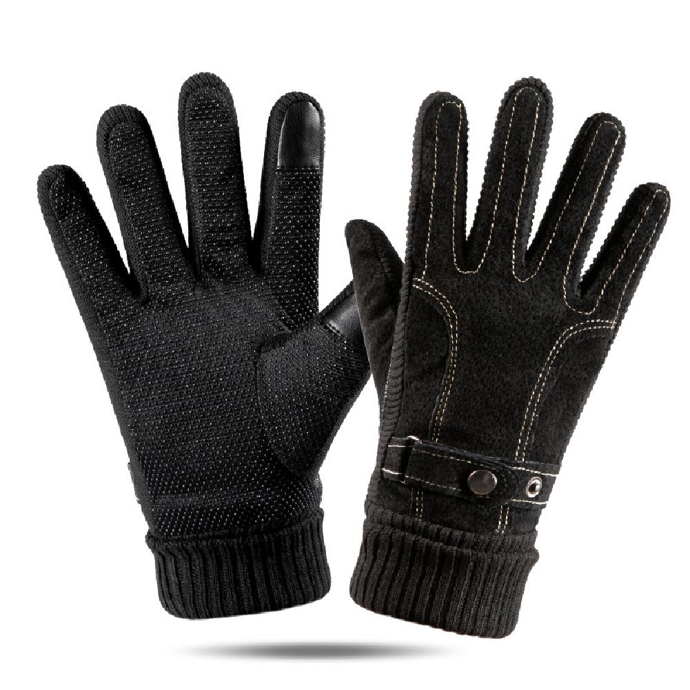 Leather Glove Winter Glove Winter Pigskin Glove Ride Bike  # pattern Black_One size