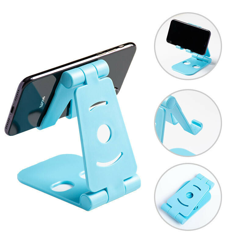 Creative Desktop Mobile Phone Stand Double Folding Portable Stand Tablet Stand Blue