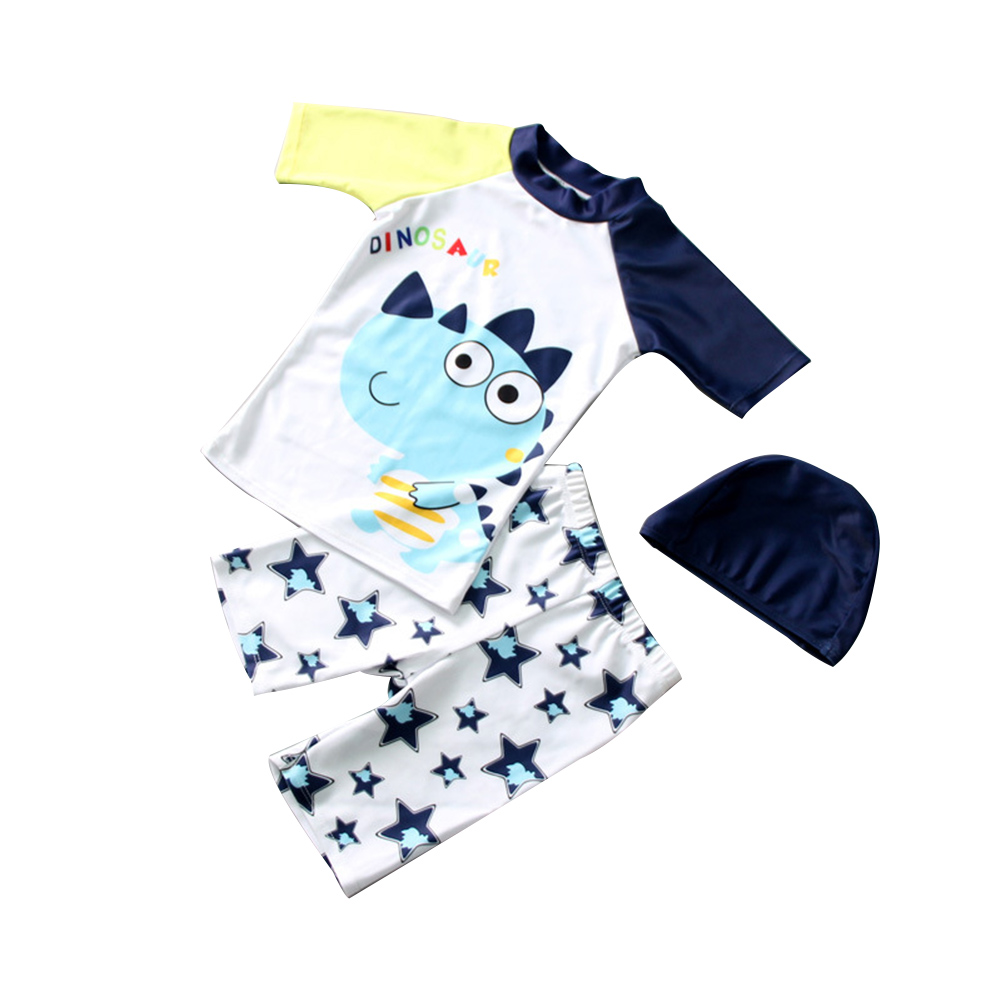3pcs/set Boy Cute Swimming Suit Sunscreen Suit Tops + Shorts + Hat rhinoceros dragon_XL
