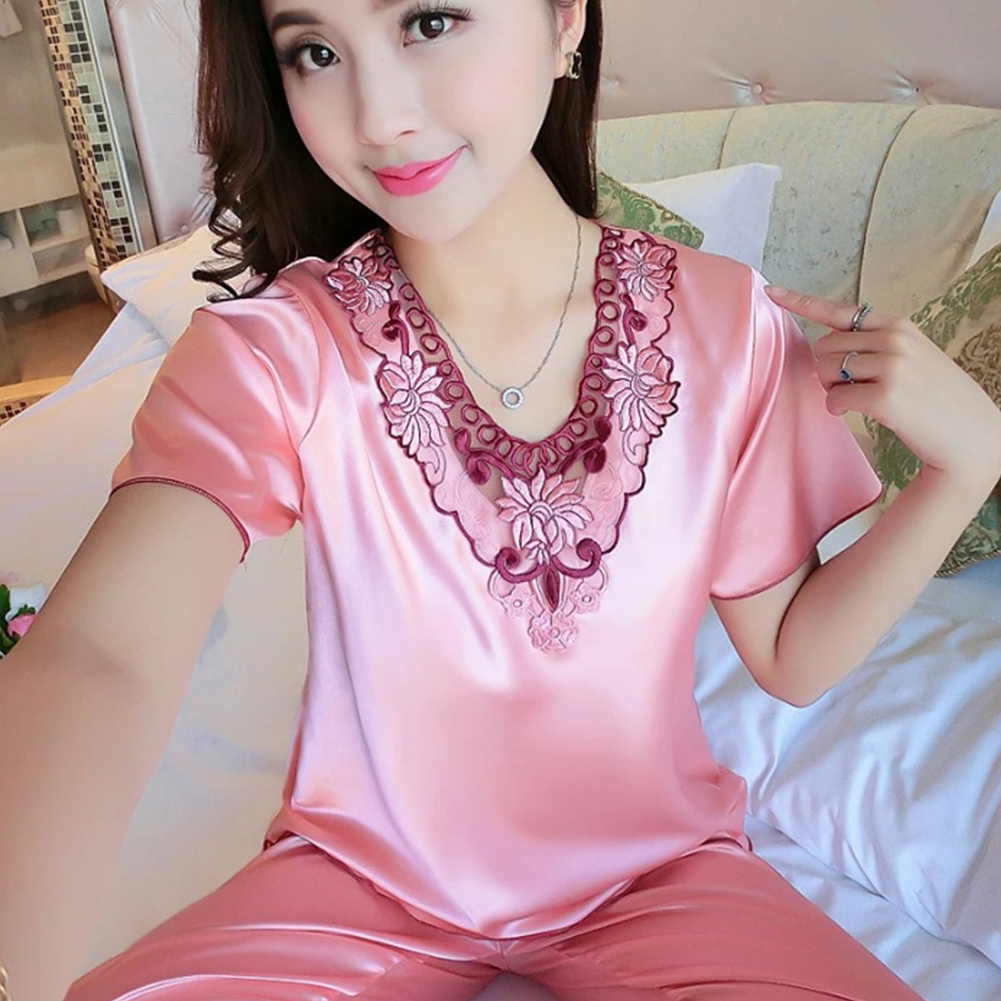 Women Pajamas Sets Thin Pants Short Sleeve Tops Sleepwear Suit Shrimp yellow_M