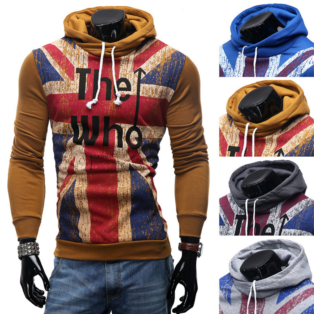 Men Streetwear Letter Printed Long Sleeve Men Sweatshirts Hooded Camel_L