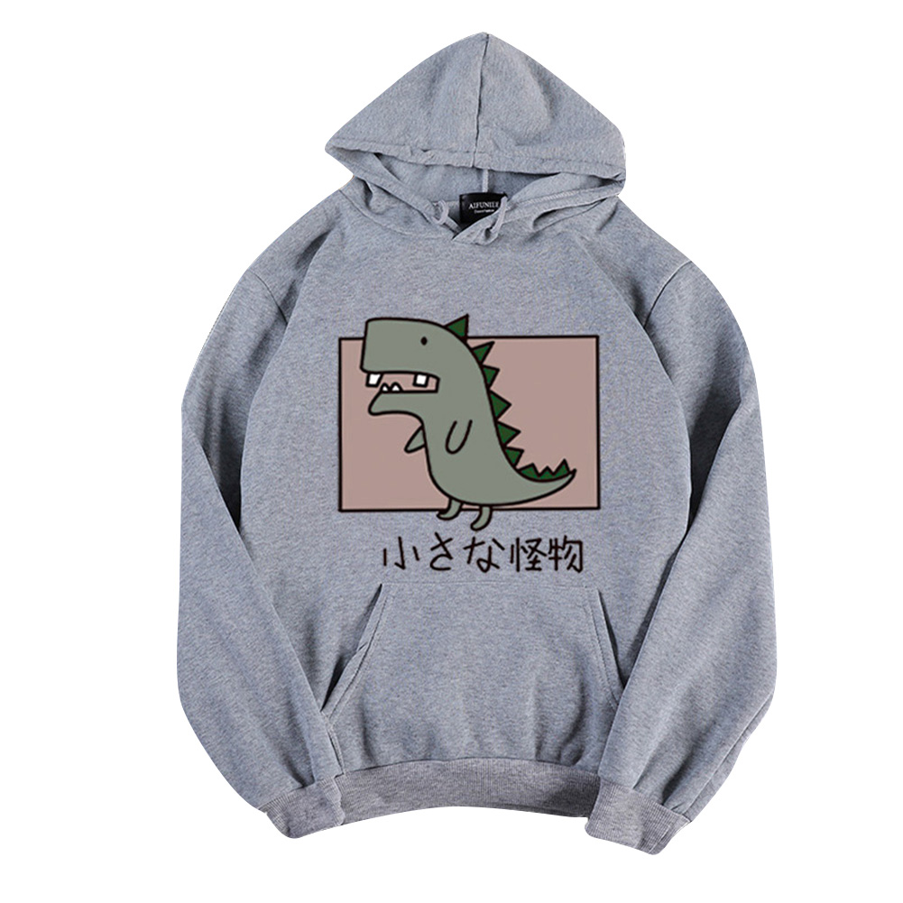 Boy Girl Hoodie Sweatshirt Cartoon Dinosaur Printing Spring Autumn Loose Student Pullover Tops Gray_L