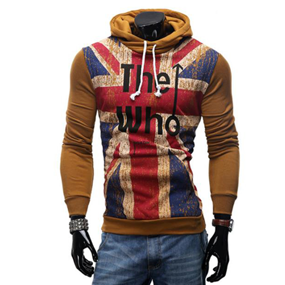 Men Streetwear Letter Printed Long Sleeve Men Sweatshirts Hooded Camel_3XL