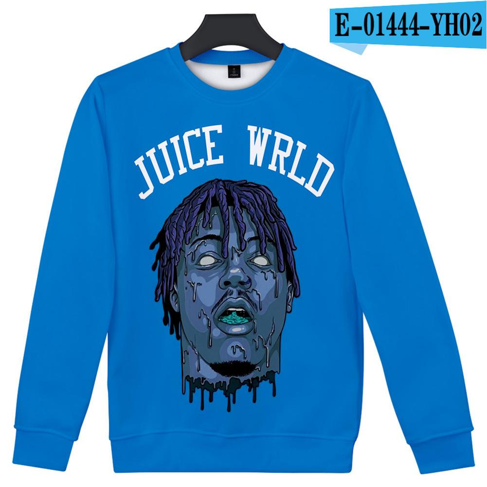 Men Women Sweatshirt JUICE WRLD Head Portrait Printing Crew Neck Unisex Loose Pullover Tops Blue_XL