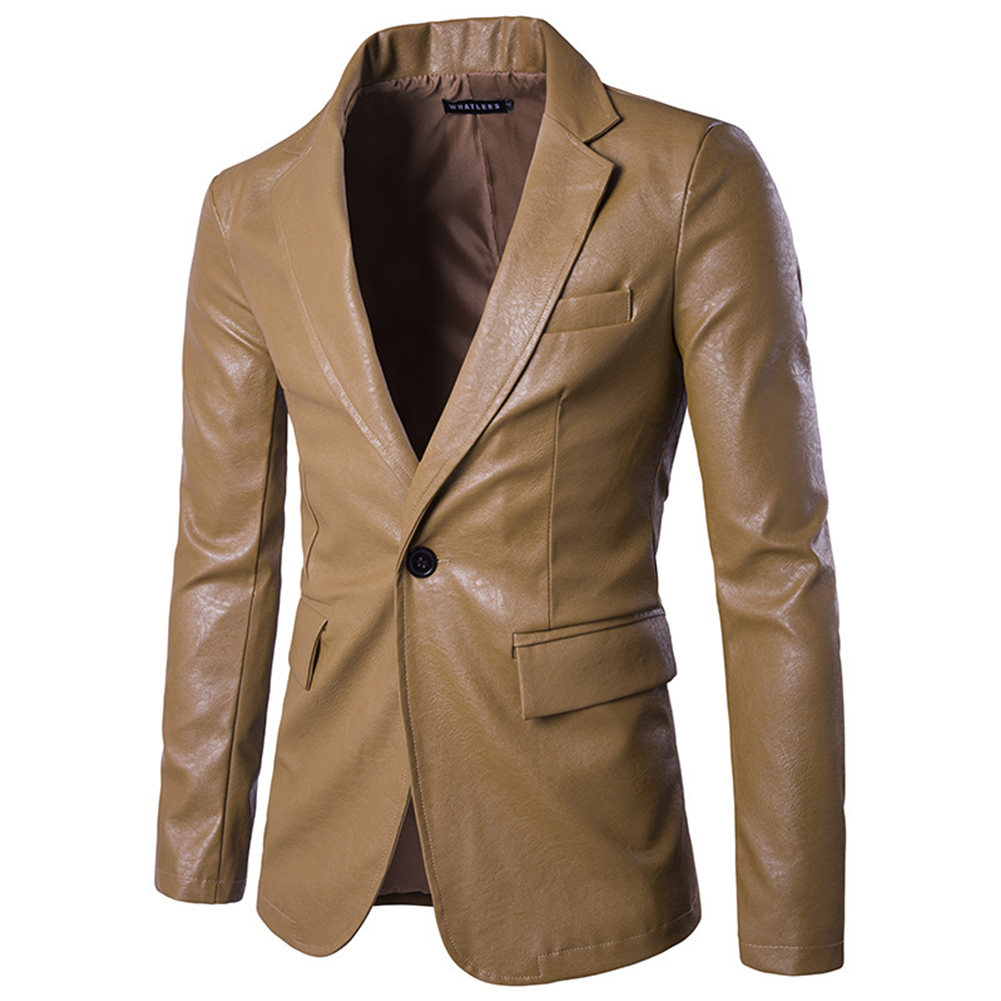 Men Spring Solid Color Slim PU Leather Fashion Single Row One Button Suit Coat Tops Khaki_L