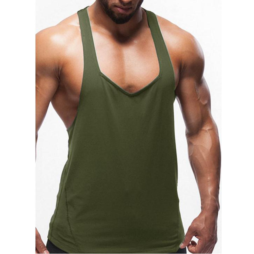 Men Solid Color Splicing Vest for Home Outdoor Sports Fitness Wear green_L