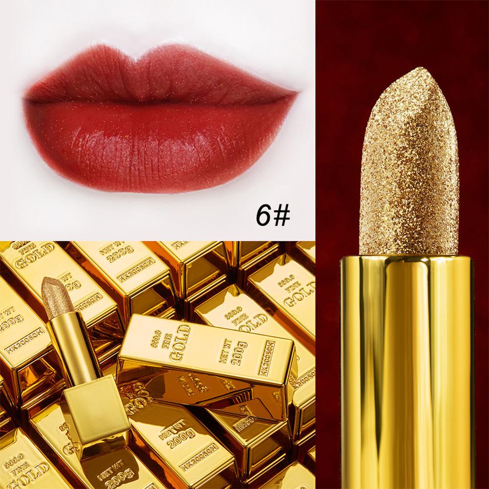 Glitter  Lipstick Moisturizing Makeup Waterproof Sexy Velvet Matte Gold Lipstick Gold lipstick 6#