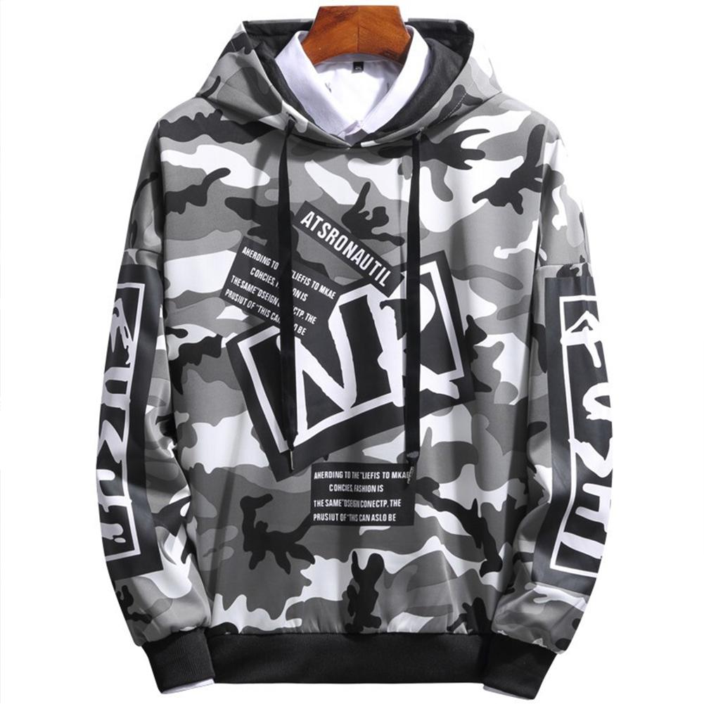 Unisex Hip-hop Style Fashion Camouflage Pattern Printing Stylish Hoody  Camouflage gray_L