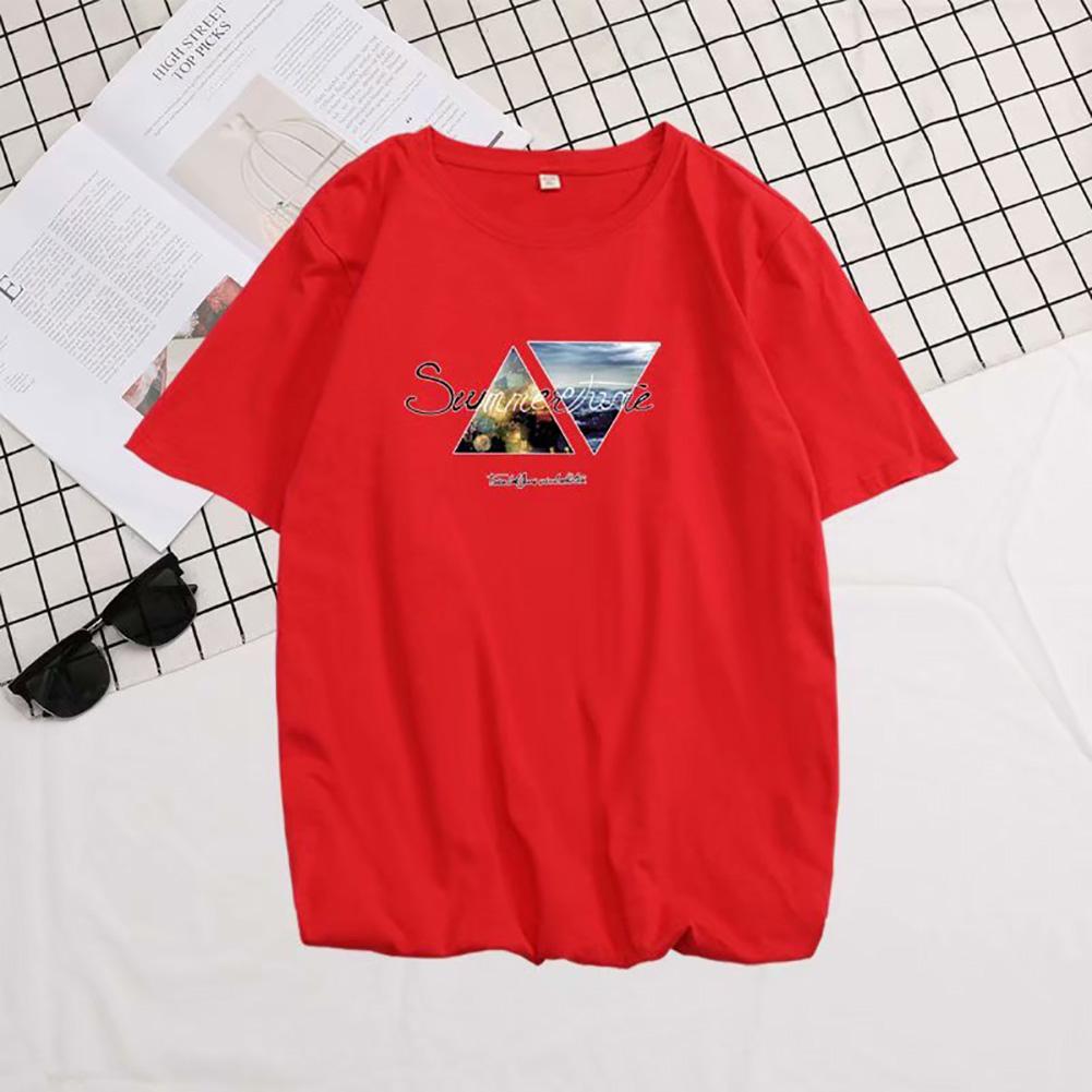 Men Summer Fashion Short-sleeved T-shirt Round Neckline Loose Printed Cotton Bottoming Top XL_614 red
