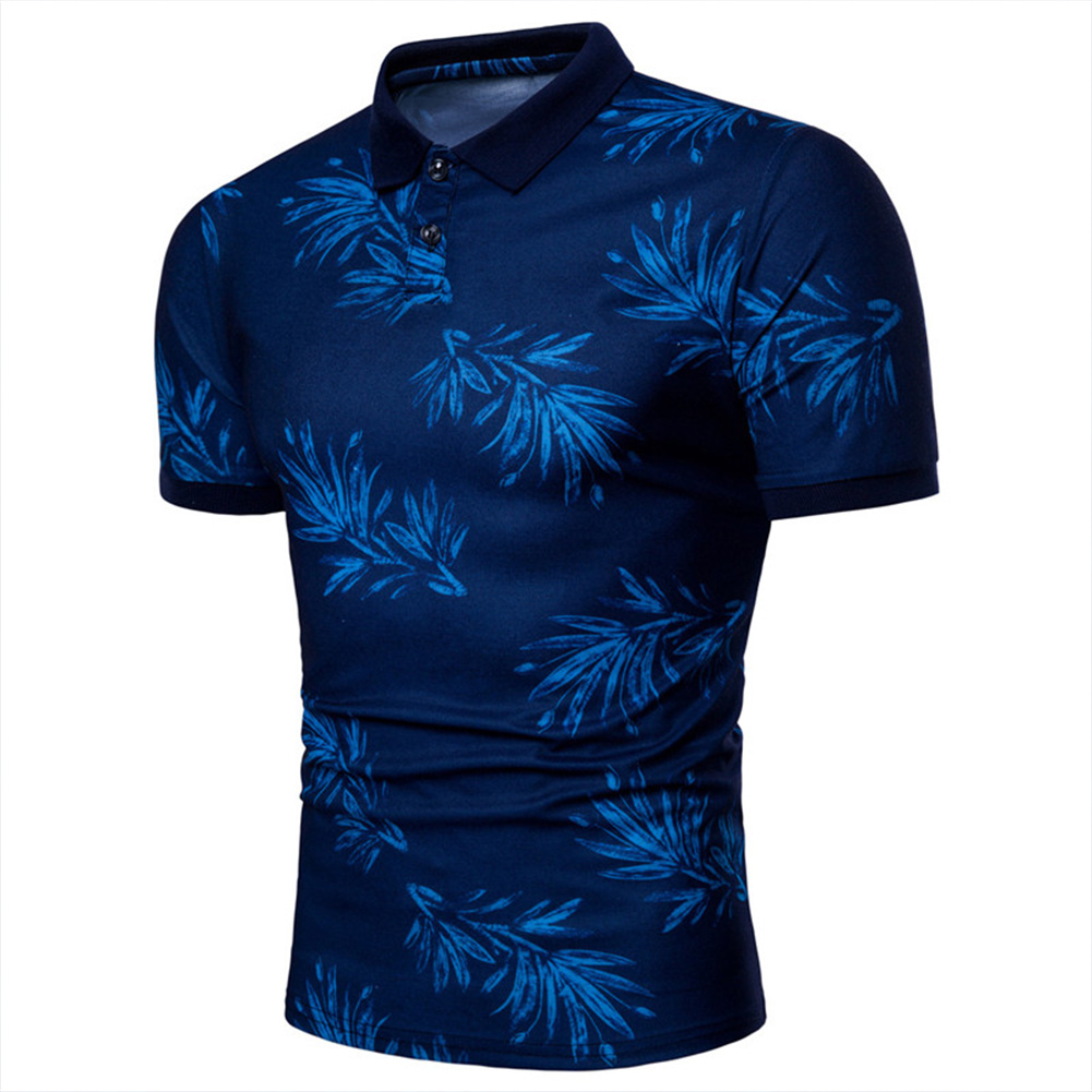 Men Fashion Leaf Print Short Sleeve Lapel T-shirt blue_3XL