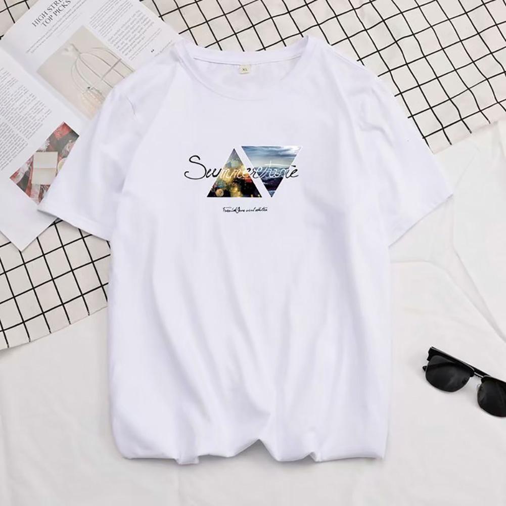 Men Summer Fashion Short-sleeved T-shirt Round Neckline Loose Printed Cotton Bottoming Top 4XL_614 white