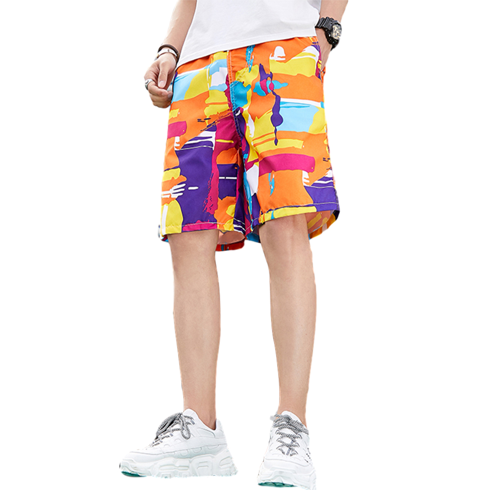 Men Beach Quick Dry Colorful Large Size Loose Elastic Shorts as shown_L