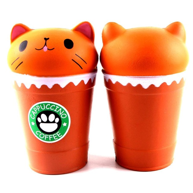14cm Cut Cappuccino Coffee Cup Cat Scented Squishy Slow Rising Squeeze Toy Collection Cure Gift  4.30