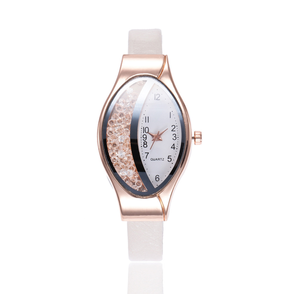 Women Fashion Imitation Leather Band Rolling Ball Oval Quicksand Quartz Watch white