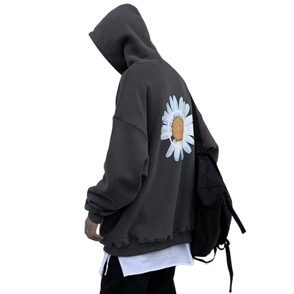 Men Women Hoodie Sweatshirt Chrysanthemum Printing Simple Unisex Pullover Tops Dark gray_XL