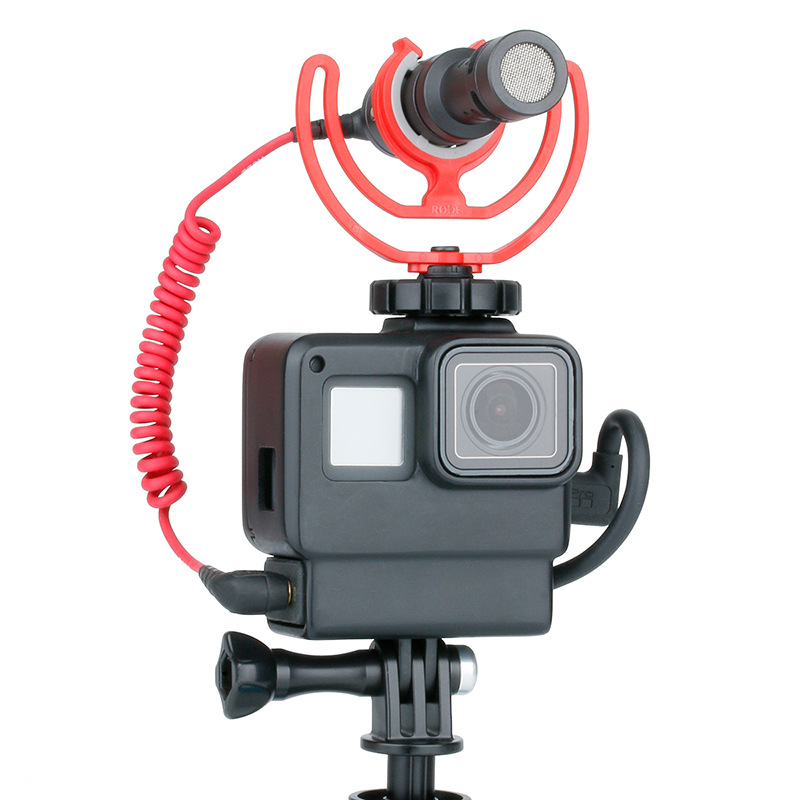 Ulanzi V2 for Gopro Hero 7 6 5 Plastic Housing with Extend Microphone Port Cold Shoe Mount  black