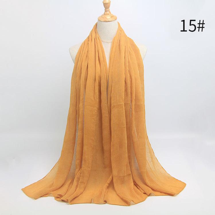 Women Pleated Elegant Long Scarf Muslim Hooding Headscarf