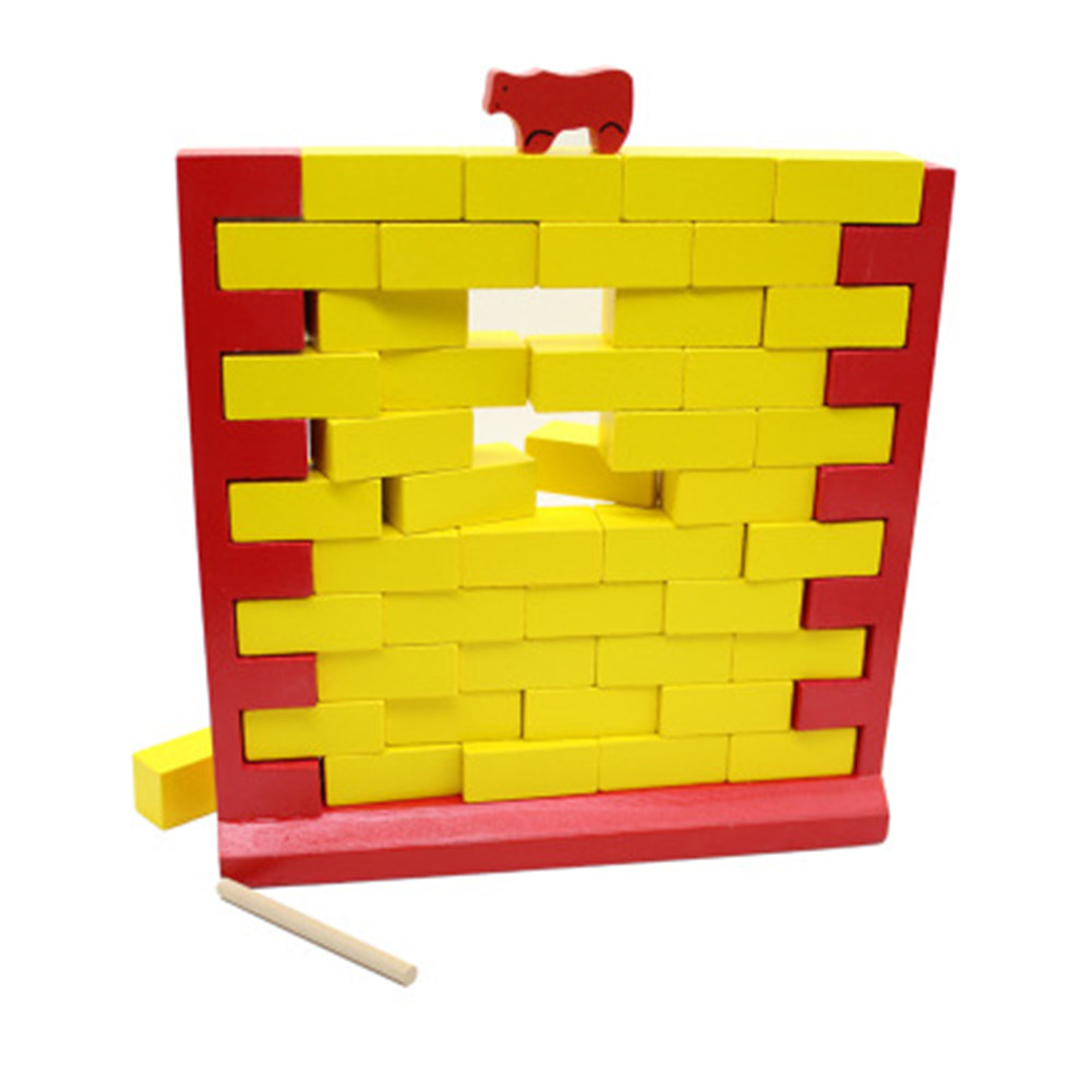 Kids Wooden Laying Bricks Blocks Tabletop Educational Puzzle Toy