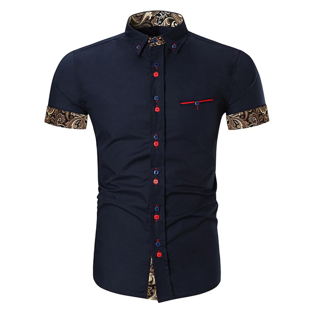 Men Fashion Button Design Lapel Shirt with Pocket Matching Color Cotton Shirt Navy_2XL