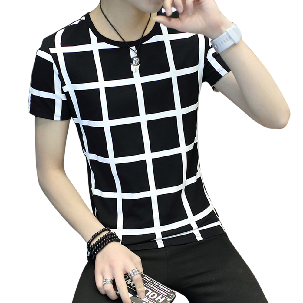 Men Fashion Youth Round Neck Short-sleeved T-shirt Plaid Pattern Tops Plaid black_XXL