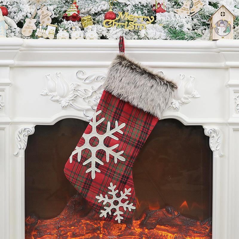 Plush Christmas Stocking with Hanging Rope for Xmas Tree Ornament Christmas gingham plush socks