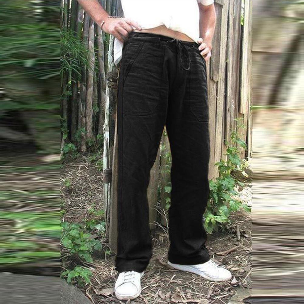 Man Plain Straight Track Pants Jogger Drawstring Slacks Casual Pants black_L