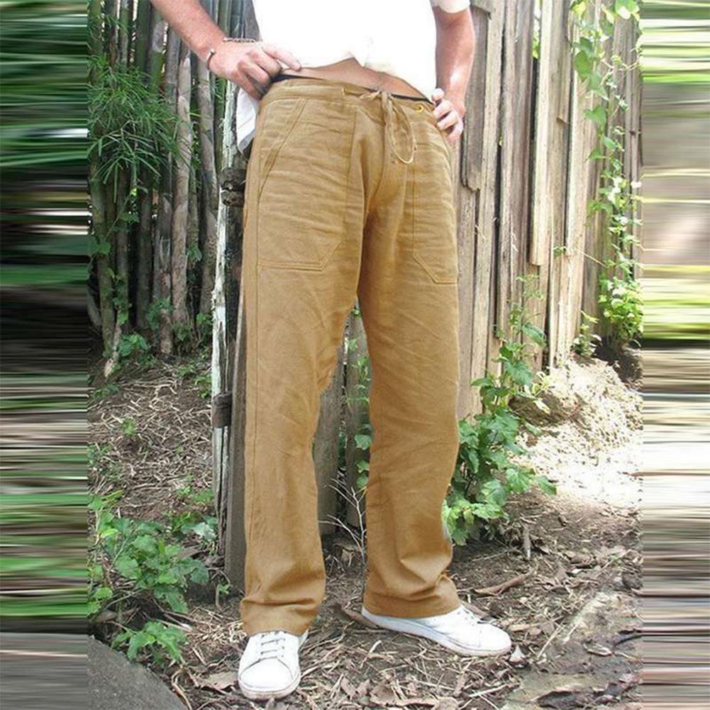 Man Plain Straight Track Pants Jogger Drawstring Slacks Casual Pants Khaki_L