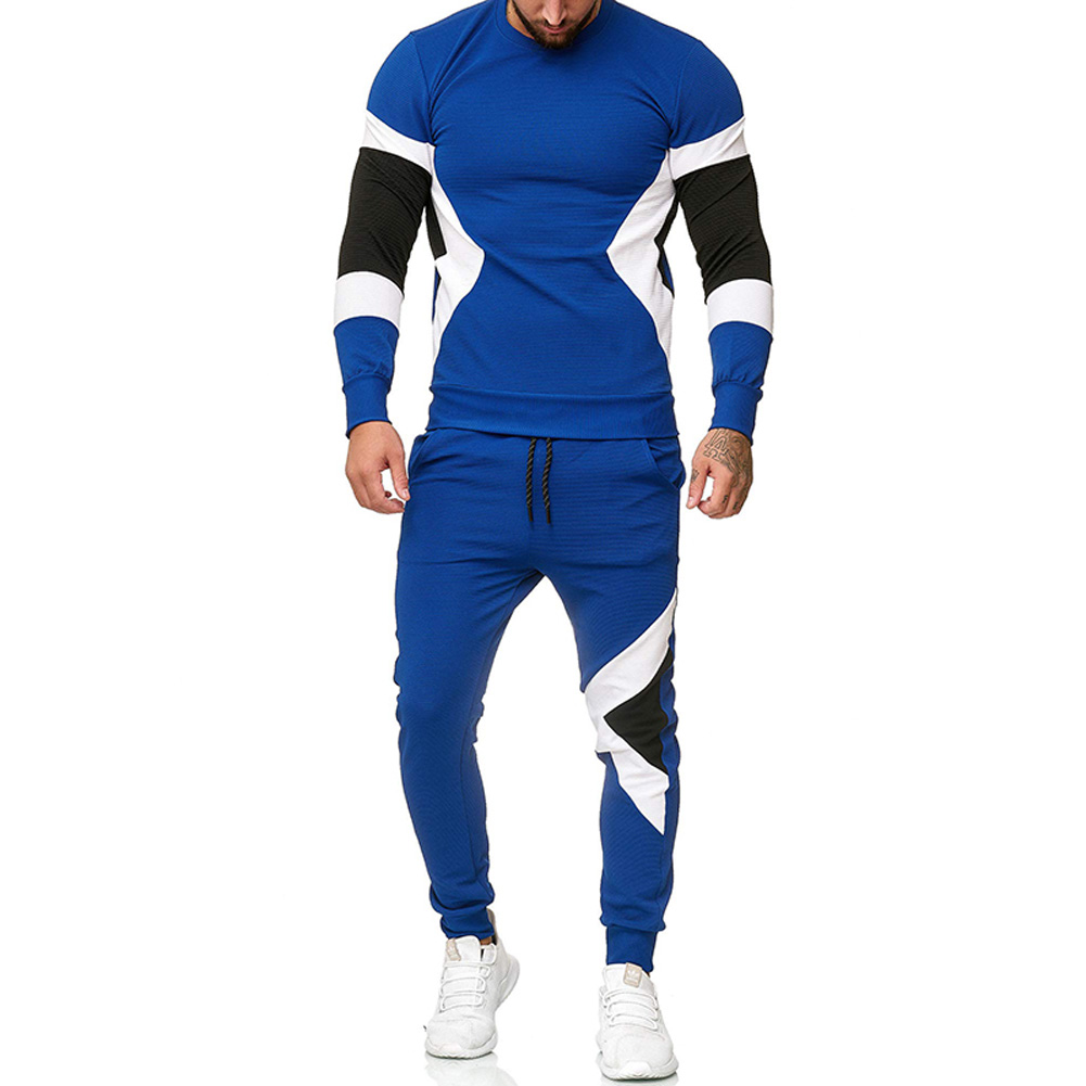 Autumn Contrast Color Sports Suits Slim Top+Drawstring Trouser for Man blue_XL