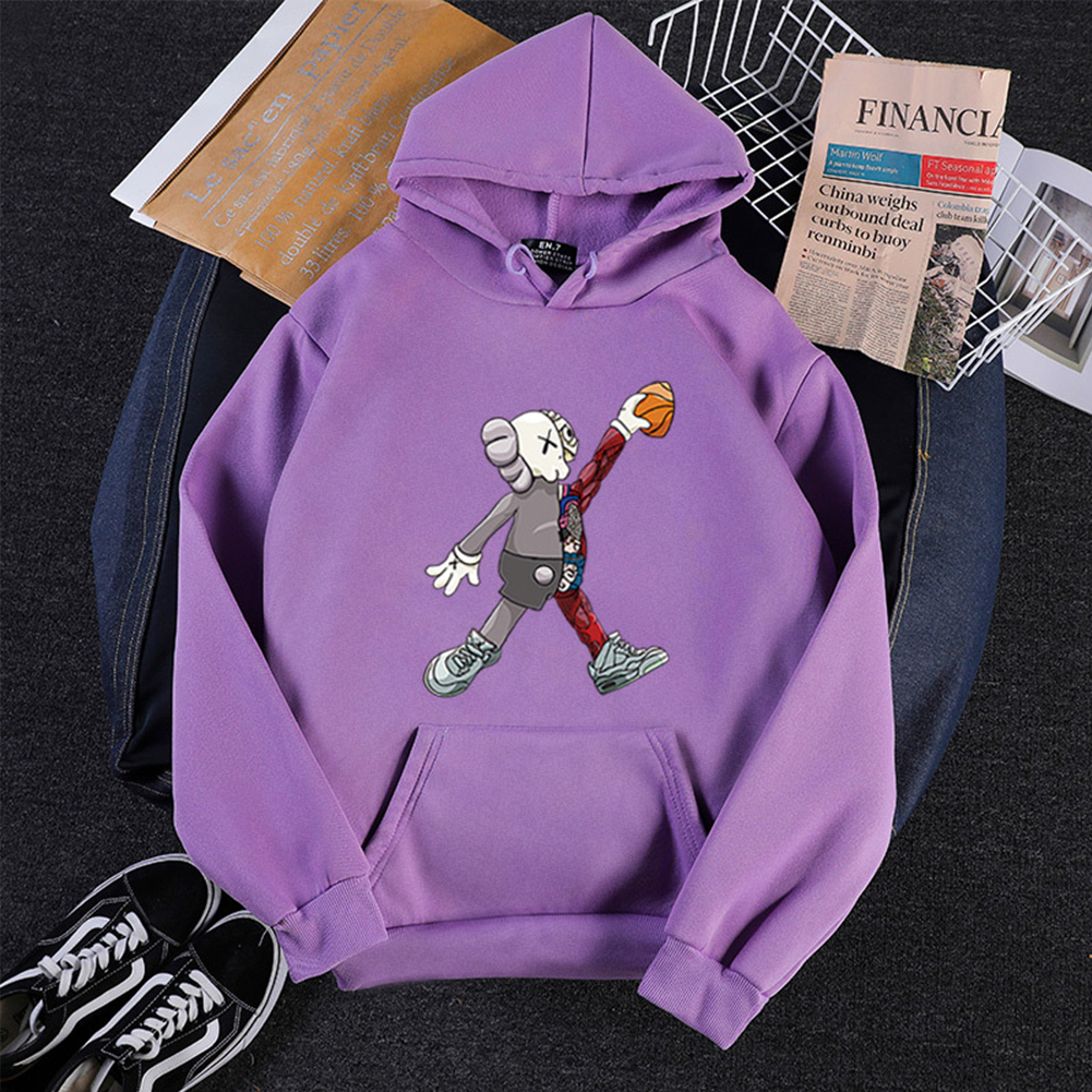 KAWS Men Women Hoodie Sweatshirt Cartoon Walking Doll Thicken Autumn Winter Loose Pullover Purple_XXL