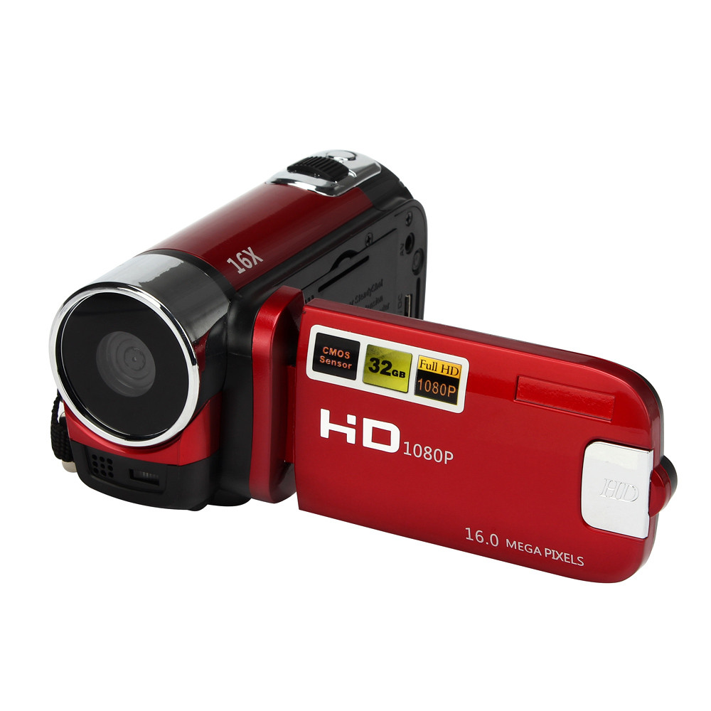 HD 1080P 16M 16X Digital Zoom Video Camcorder TPT LCD Camera DV Home Camera Red UK plug
