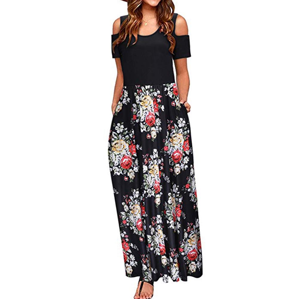 Women Elegant Off Shoulder Printing Long Style Pockets Dress black_M