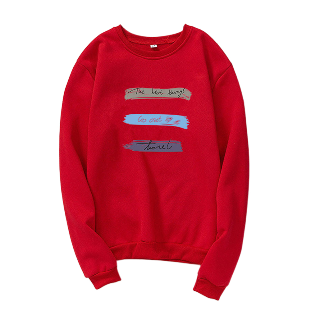 Men Women Long Sleeve Autumn Fleece Loose Coat Sweatshirts for Casual  red_M