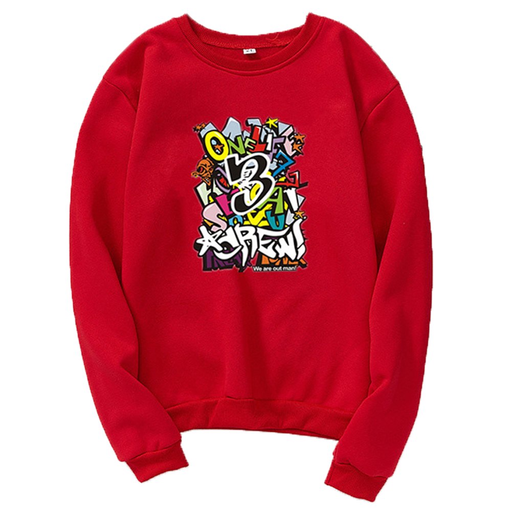 Unisex Cartoon Print Round Collar Loose Long Sleeve Casual Sports Sweatshirts red_XL
