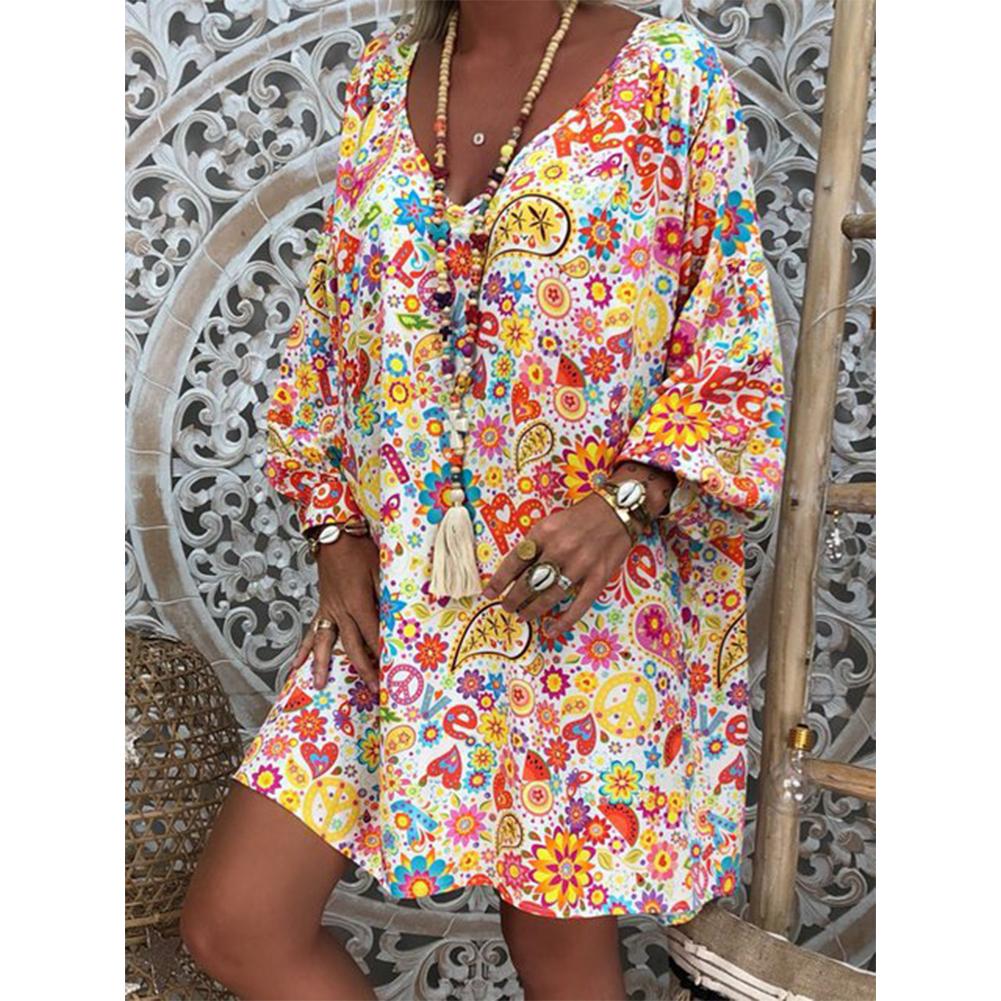 Women Printing Dress V-collar Long Sleeve Medium Long Dress yellow_XL