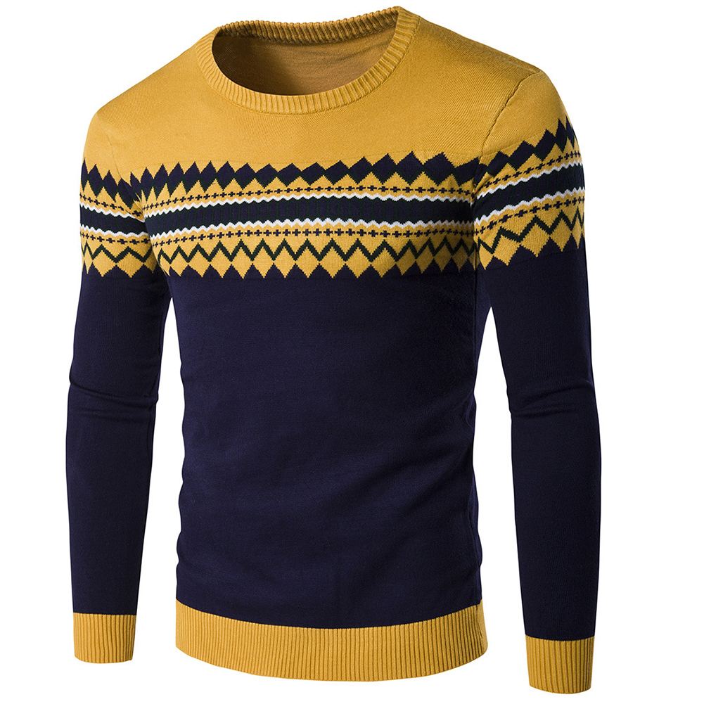 Slim Pullover Long Sleeves and Round Collar Sweater Floral Printed Base Shirt for Man yellow_L