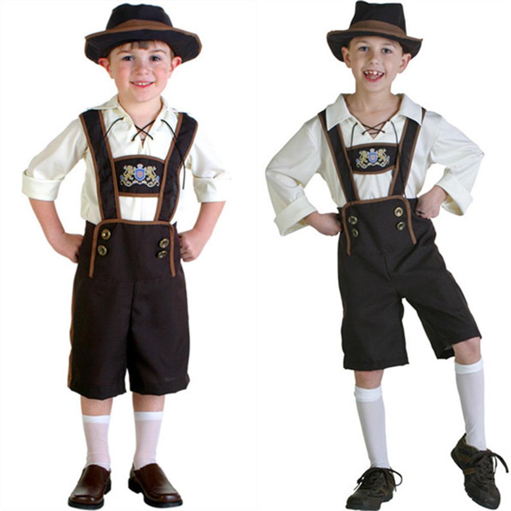 Children Girl Boy Fashion Oktoberfest Waiter Waitress Cosplay Costume Beer Festival Suit Boy brown beer_L