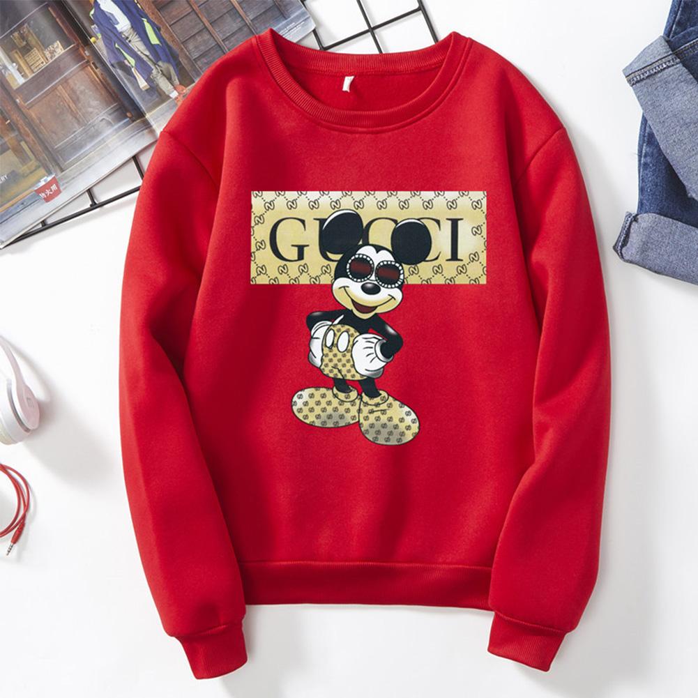 Men Sweatshirt Cartoon Micky Mouse Autumn Winter Loose Couple Wear Student Pullover Red_XXXL