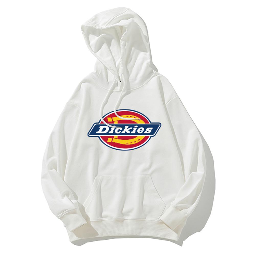 Men Women Hoodie Sweatshirt Thicken Velvet Dickies Loose Autumn Winter Pullover Tops White_XXL